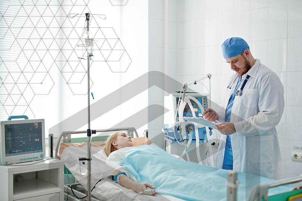 Doctor with patient and medical devices protected